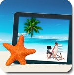 Tablet-PC am Strand